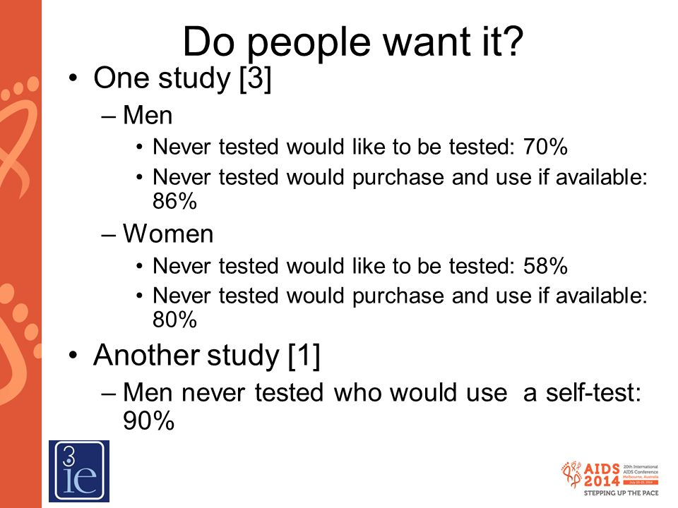 Do people want it One study [3] Another study [1] Men Women